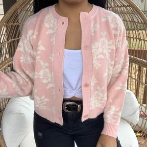 Vintage Pink Floral Sweater Cardigan SZ M